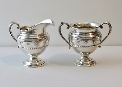 Wallace Repousse Sterling Silver Rose Point Creamer and Sugar  Excellent  !