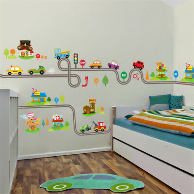 Cartoon Cars Highway Track Wall Stickers For Kids Rooms Sticker Children's Play