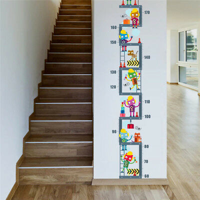 Robot Growth Chart Height Measure Wall Sticker For Kids Childrens Room