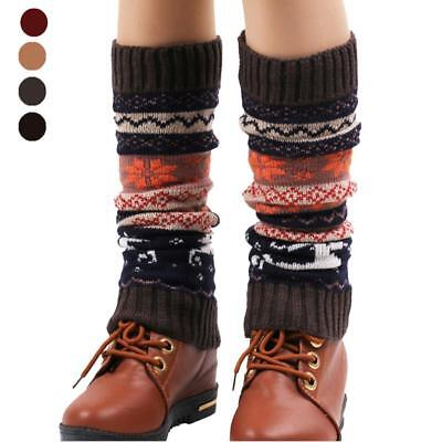 Women's Winter Leg Boot Warmers Deer Print Knee High Knit Warm Socks Stockings