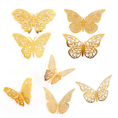12PCS 3D Hollow Butterfly Wall Stickers Art Decal Home Gold Fashion Door Decor