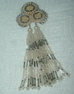 """VINTAGE Dress Tassel Trim Ornament Faux Pearls & Seed and Bugle Beads, 5"""" Long"""