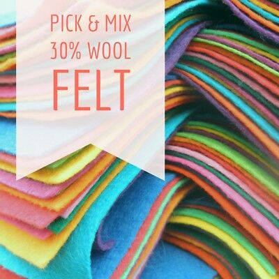 Wool Blend Felt Square - Pick & Mix from 48 Colours - 12 inch / 30cm Squares