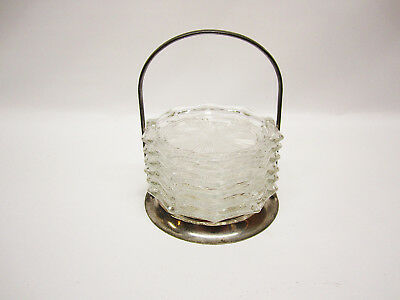 6 Vintage Clear Glass Coasters with Holder