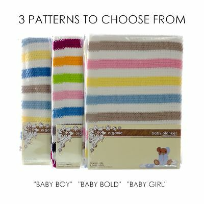 DK Glovesheets Organic Cotton Baby Blanket for Prams & Cribs. Approx. 100x75 cm