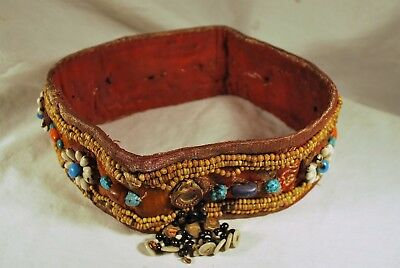 Authentic Shamans Tribal Headband with Glass Beads - Turquoise- Cowrie shell