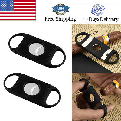 2PCS Stainless Steel Blade Cut Tobacco Cigarette Cigar Cutter Ring Gauge Black