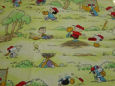 Peanuts Snoopy Charlie Brown Baseball Fabric - Fat Quarter 18 Inches x 21 Inches