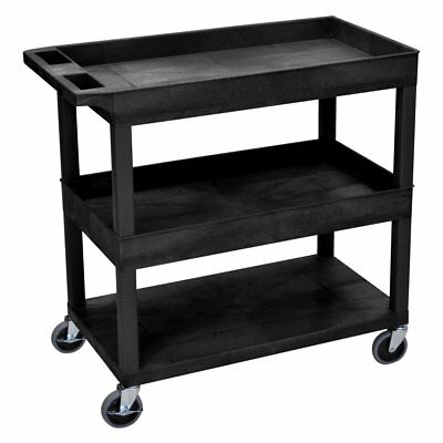 Luxor High Capacity 2 Tubs and 1 Flat Shelf Cart