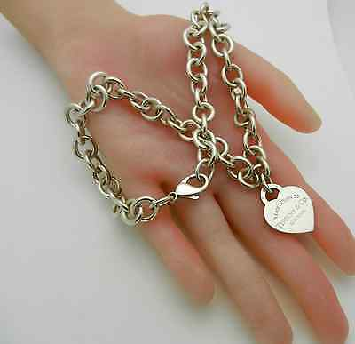 """TIFFANY & CO. STERLING SILVER 925 """"PLEASE RETURN TO"""" HEART TAG NECKLACE 16"""" lg"""