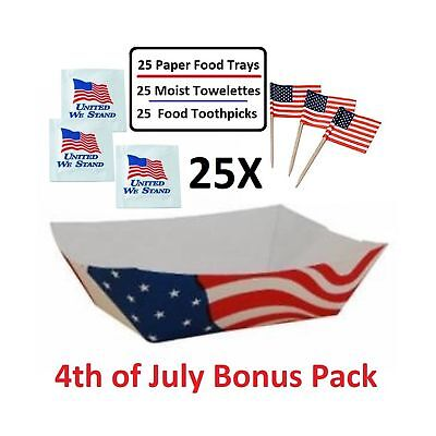 USA Flag Paper Food Trays (2 LB) - Value Pack of 25 Trays, 25 Moist Towelette...