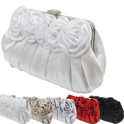 New Women Floral Design Satin Flap Wedding Clutch Purse Evening Prom Bag Handbag