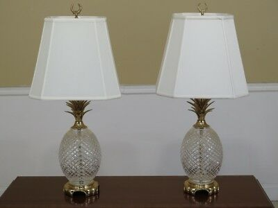 F45336EC: Pair Of WATERFORD Crystal & Brass Pineapple Table Lamps