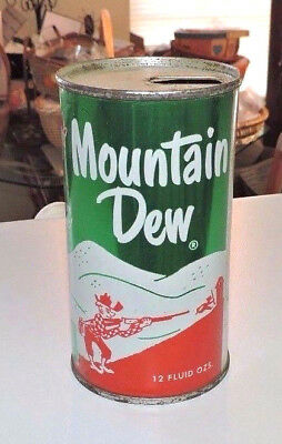 "Rare Antique Original Mountain Dew Pull Tab 12 Oz Can  ""  Nice  """