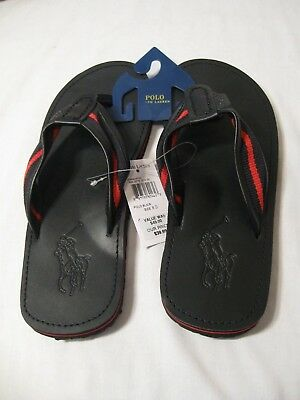 5ff5c79b5bff Polo Ralph Lauren Men s Sullivan II Black Red Leather Sandals Flip Flops NWT