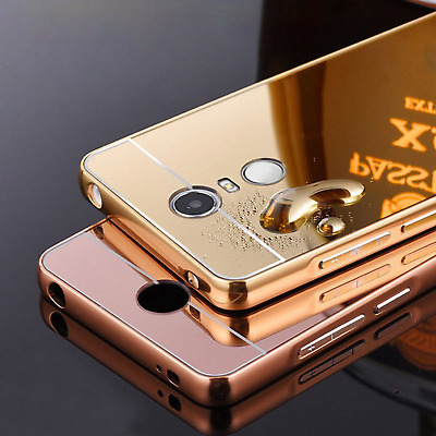 Luxury Bling Metal Aluminum Frame Case PC Mirror Back Cover For Red Mi Note2/3/4