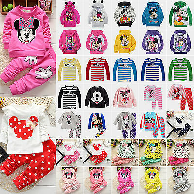 Kids Baby Girls Boys Mickey Minnie Mouse Hoodie Sweatshirt 2pcs Clothes Outfits