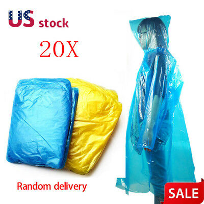 20x Disposable Outdoor Camping Travel Hiking Emergency Rain Coat Raincoat Poncho
