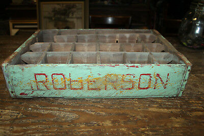 Vintage Green Roberson Soda Pop Advertising Wood Crate-Carrier-Case 1960's