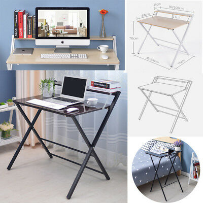 Wooden Computer Desk Basic Home Office Table Workstation Foldable Space Table Uk