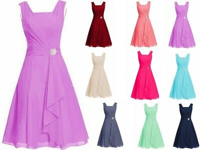 Stock Short Chiffon Bridesmaid Formal Evening Party Gown Prom Dress Size 6-20