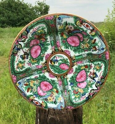 Beautiful Antique Vintage Chinese Oriental Hand Painted Flower Plate *