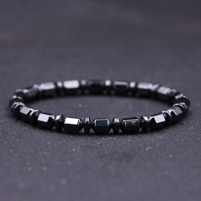 Men Hematite Cylinder Charm Bead Bracelet Therapy Pain Relief Gemstone Elastic