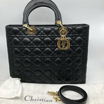 CHRISTIAN DIOR LADY DIOR Large Black Lambskin GHW PRE-OWNED 100% AUTHENTIC fdf51b14f0efe