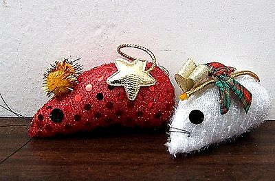 New Plush Christmas Red White Mice Ornaments Winter Holiday Stuffed Animal Toys!