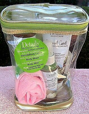 New Details Bodycare Coconut Body Mist Wash Hand Lotion Pink Puff Gift Bag Set!