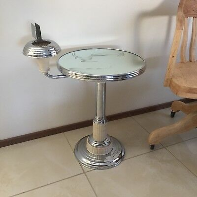 Vintage Art Deco Glass Smokers Table Stand Outstanding Cond TOBACCIANA