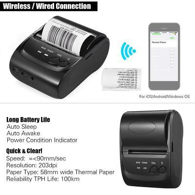 58mm Mini BT/USB Pocket POS Thermal Receipt Printer Print f/ Android IOS Windows