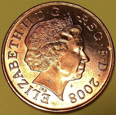 UK 2008 Two Pence Error Coin (Britain England 2p 2 Rare Unique Mint Flaws)