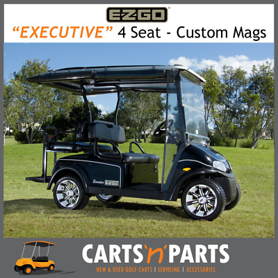 E-Z-GO Executive RXV Freedom Black 4 Seat Custom Mags Rain Covers Golf Cart Bugg