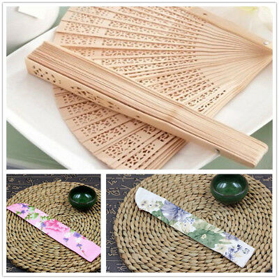 AU Hand Held Chinese Style Wooden Hollow Folding Fan and Silk Fan Bag fit19-23cm