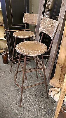 A Pair Tall Stools Wooden Movable Seats & Metal Legs/Foot Rest