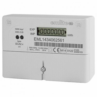 Emlite ECA2 100a Single Phase Watt Hour Electricity Meter Meters (PULSE)