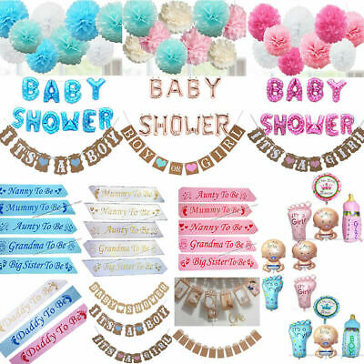 Baby Shower Girl Boy Mummy To Be Sashes Balloons Bunting Photo Props Pom poms