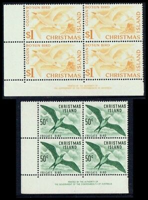 Christmas Island 1963 50c & $1 Bird in Corner Imprint blocks, fine unmounted **