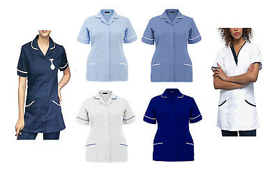 New Womens Nurses Tunics Medical Uniform Salon Vet Healthcare Maid Scrub Suit