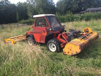 Aebi TT80 mower Muthing front flail and Bomford rear topper slope tractor