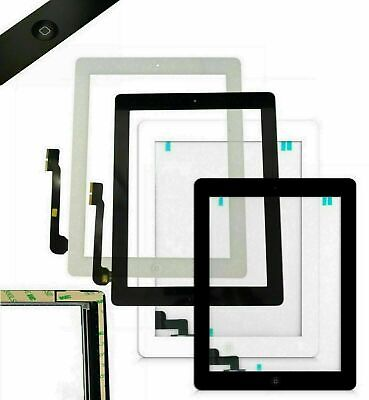 iPad 2 3 4 Touch Screen Digitizer Replacement Front Glass Lens Pad Black White