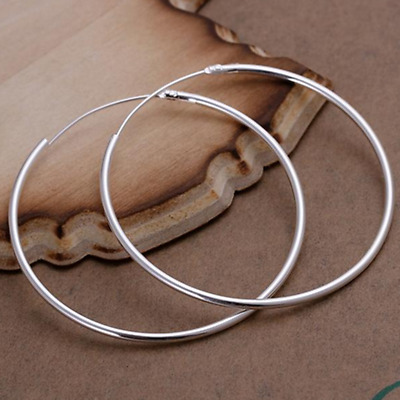 Women 925 Sterling Silver Classic Large Round Vogue Hoop Fashion Earrings