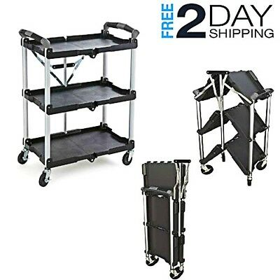 Service Shop Carts Storage Rolling Utility Durable Swivel Wheels Folding Shut