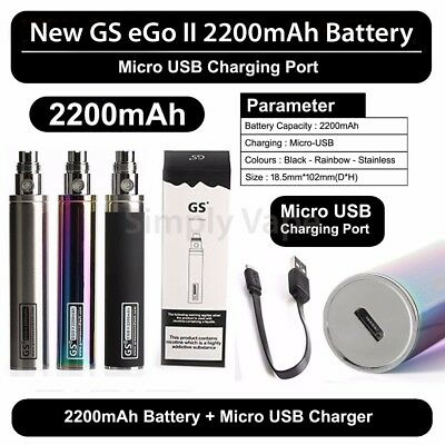 Authentic GS EGO 2 E Cig 2200mah Shisha cigarette Battery Micro USB Charger