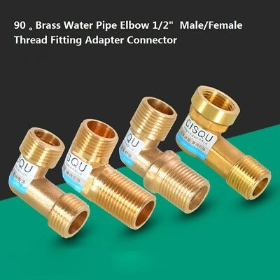 """90°Brass Water Pipe Elbow 1/2""""  Male/Female Thread Fitting Adapter Connector"""