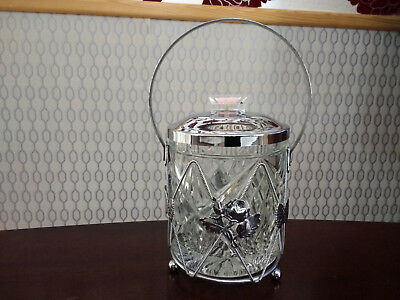 Vintage Sugar Bowl Container Silver Plated With Handle Glass Cut Body With Lid