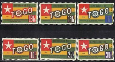 Ross1374: Togo Scott# 386-391   **mnh**  1961 Togo Flag & Un Emblem Set