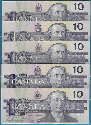 1989 5 Consecutive Bank Of Canada $10 BDJ  BC-57b Thiessen / Crow  GEM / UNC