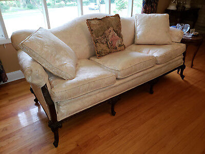 English Country SOFA Restored  Vintage w Wood Carved Mahogany Accents